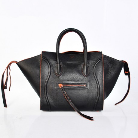 Celine Small Phantom Luggage Leather Black Neon Orange Trim Boston Bag 1. «  » f7613e7658e19