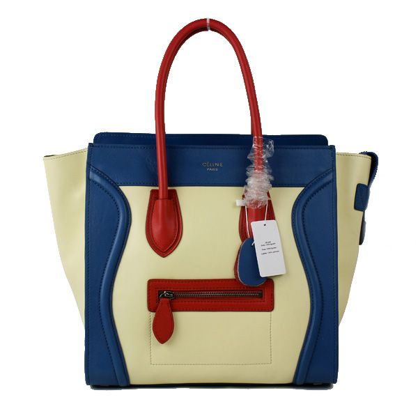 Celine Mini Luggage Tricolor White Blue Red Smooth Leather Bag 1